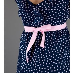 Red Valentino navy pink polka dot ruffle dress
